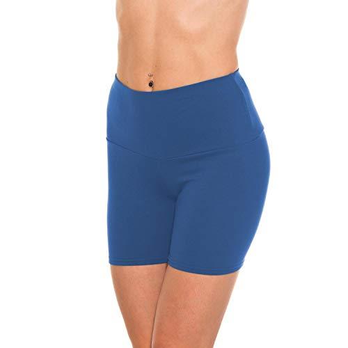 Alkato Damen Sportshorts Hotpants mit Hoher Taille, Farbe: Blau, Größe: 36
