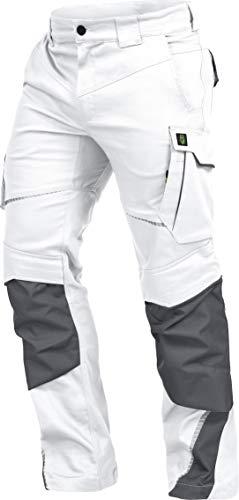 LEIB WÄCHTER Flex-Line Arbeitshose Bundhose Premium weiß-grau mit Spandex (48)