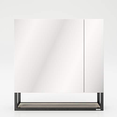PLAYBOY Spiegelschrank mit 2 Türen und 1 offenen Ablage, sanft schliessend, schwarz matt lackiertes Metall mit Wild Eiche Holzdekor, Badschrank, Wandschrank, Spiegel, Wandspiegel, Badspiegel