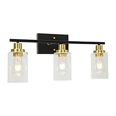 3-Light Bathroom Vanity Light Black Brass Finish, Vintage Industrial Wall Light Fixtures with Clear Glass Shade for Bathroom Dressing Table Mirror Cabinets Vanity Table
