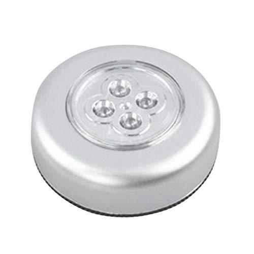 YKSO 4 LED de control de la noche de la luz redonda bajo el gabinete armario empuje en la lámpara de la casa de la cocina dormitorio uso del automóvil
