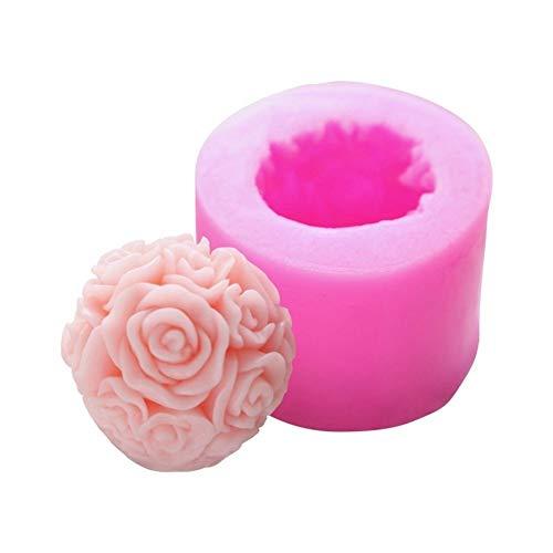 ARTFFEL Geschmacksneutrale 3D-Rosenkugel-Silikonform für Gips, Aromatherapie, DIY-Kerzen, Seife, Kuchen, Kerzen, Lebensmittelqualität (Farbe: 1)