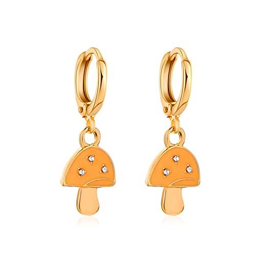 Topsjleu - Pendientes para mujer, 1 par de aretes de gota con forma de hongo, aleación de diamantes de imitación, color brillante, accesorio de joyería - azul, Metal,