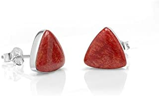 925 Sterling Silver Tiny Natural Coral, Stone, or Shell Triangle 9 mm Post Stud Earrings