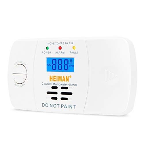HEIMAN CO Melder Kohlenmonoxidmelder mit LCD Anzeige 5 Jahren Batterielaufzeit 10 Jahren Sensorlaufzeit, Prüftaste, 722ESY