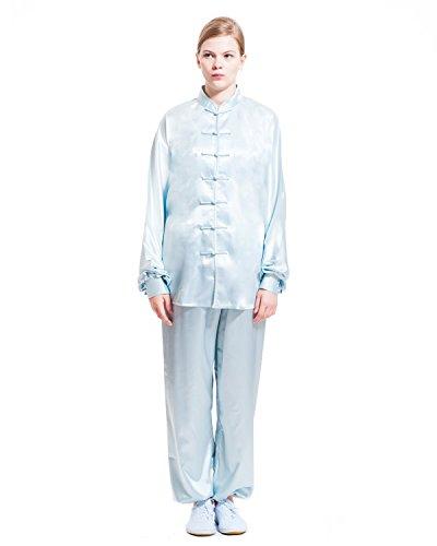 ICNBUYS Mujer Tai Chi Uniforme Avanzado Rayón Seda XS Azul claro