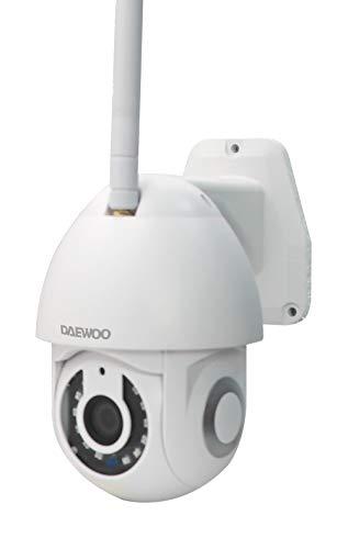 Daewoo - Telecamera esterna EP501, Full HD 1080P, sistema audio bidirezionale, motorizzato, rilevamento di movimento, colore: bianco, compatibile con Alexa Echo Show