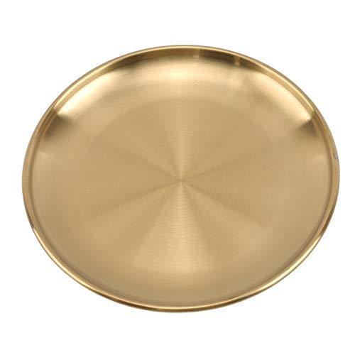 ZPEE Platos Llanos Placas de Cena de Estilo Europeo Placa de Comedor de Oro Sirviendo Platos Placas Redondas Tray Bandeja Occidental Bandeja Redonda Platos de Cocina Juego de Platos Blancos para Cena