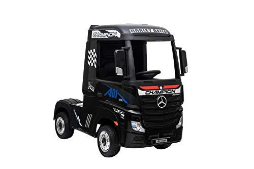 ES-TOYS, camión eléctrico para niños Actros, Asiento de Cuero, neumáticos EVA, Color:Negro
