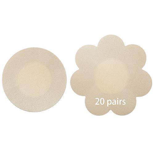 Tripetals 20 Paare Unsichtbare Nippelabdeckung Wasserdichte Einweg Brust Aufkleber Nippel Cover Nippelpads - Round&Flower