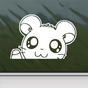 Hamtaro White Sticker Decal Hamster Hamshir White Car Window Wall Macbook Notebook Laptop Sticker Decal by faststicker