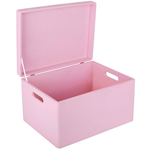 Creative Deco XXL Rosa Große Holzkiste Aufbewahrungsbox Spielzeug | 40 x 30 x 24 cm | Mit Deckel zum Dekorieren Aufbewahren | Mit Griff | Perfekt für Dokumente, Wertsachen und Werkzeuge