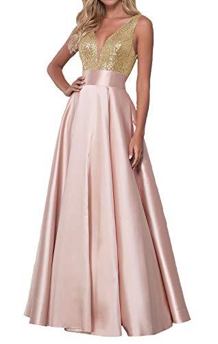 Qiuqier Vestito da Cerimonia Donna Lungo Paillettes Scollo a V Abito da Ballo da Sera Oro-Rosa Cipria 34