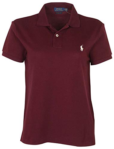 Ralph Lauren Women's Skinny Polo Pony Logo T-Shirt (X-Large, Red Wine (White Pony))