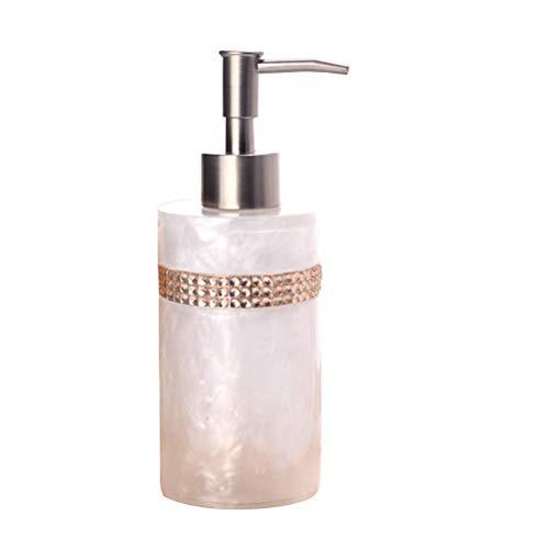 OUNONA Seifenspender Universalspender mit Strass Pumpflasche Shampoo Dispenser Wiederbefüllbar für Duschgel Shampoo Seife (Weiß)