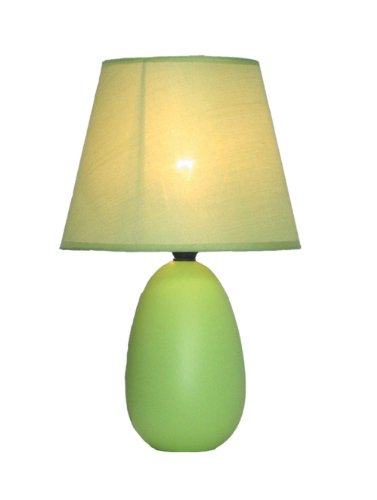 Simple Designs LT2009-GRN Mini Oval Egg Ceramic Table Lamp, Green