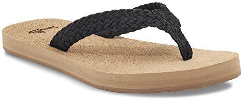 Sanuk Women's Stacker Braid Flip-Flop, Black, 11
