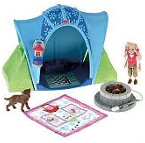 Fisher Price Loving Family Camping Tent Playset with 4 Inch Tall Sister Doll, Pet Dog, Blau Tent, Campfire, Lantern and Sleeping Bag by Loving Family