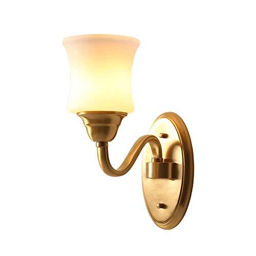 Accesorio de lámpara de pared de cobre, aplique de luces de pared de American Village con pantalla de vidrio blanco como la leche,iluminación de pared para decoración hogar interior baño pasillo hotel