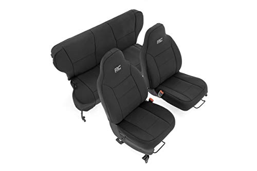 Rough Country Neoprene Seat Covers for 97-01 Jeep Cherokee XJ w/o Detachable Headrests - 91022,...