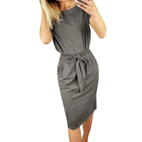 VEMOW Sommer Elegante Damen Etuikleid Casual Pocket Sommer Bowknot Kurzarm Kausal Daily Dating Abend Party Minikleid(X1-Dunkelgrau, 38 DE/S CN)