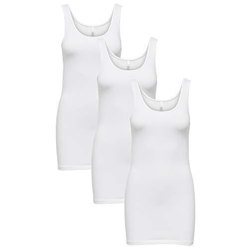 ONLY 3er Pack Damen Oberteile Basic Tank Tops weiß, schwarz blau Frauen Shirt lang Sommer Shirts Top, Größe:L, Farbe:3er Pack weiß