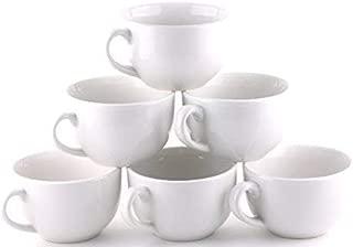 Amuse- Professional Gourmet Extra Large Coffee & Latte Mug (Set of 6) (Pure White)