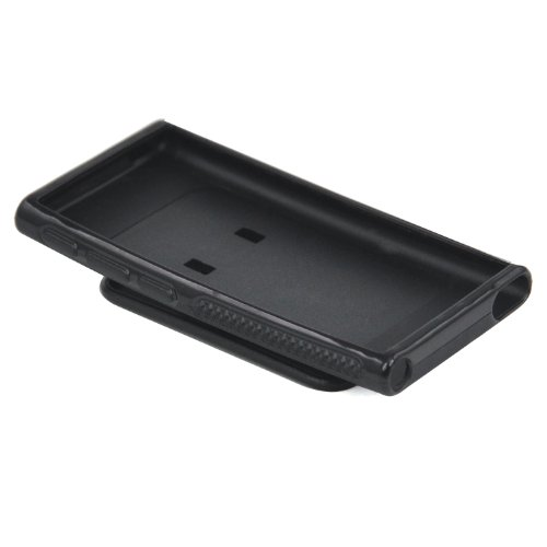 TRIXES Coque noire en gel TPU avec clip ceinture pour iPod Nano 7ème Génération d'Apple