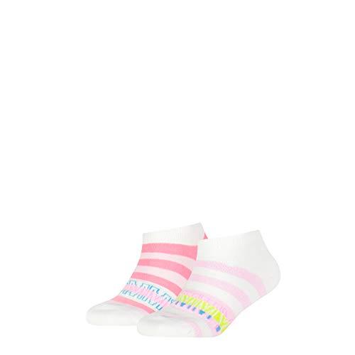 Tommy Hilfiger Girls Tommy Wording Kids Sneaker-Trainer (2 Pack) Socks, pink Combo, 31/34