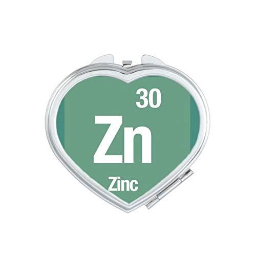 DIYthinker Zn Zink chemisches Element Wissenschaft Herz Compact Make-up Spiegel Beweglicher Nette Handtaschenspiegel Geschenk Mehrfarbig