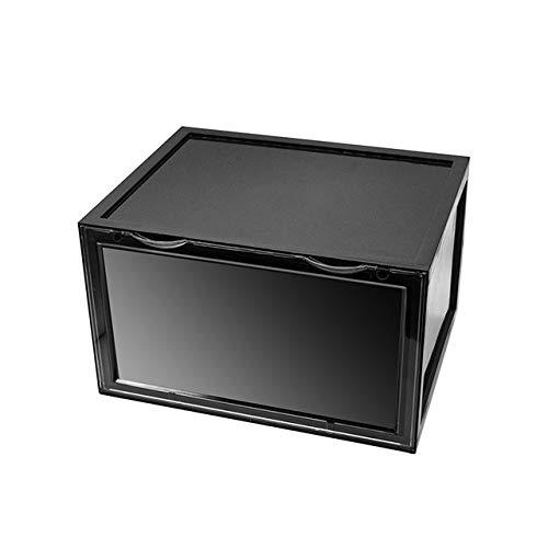 ALANG Trend Kunststoff transparente Schuhkarton Verdickung kann Sneakers seitliche Vitrine Sportschuhe Organizer Lagerung, eine Schwarze Schuhbox, 36X28X22CM überlagert Werden