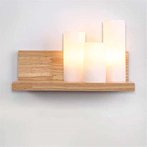 JeeKoudy Aplique de Pared de Madera Lámpara de Pared Moderna Interior de Madera Maciza Lámpara LED Vintage E27 * 3 Retro con Pantallas de Vidrio Aplique de luz Dormitorio Lámparas de Noche Estudio