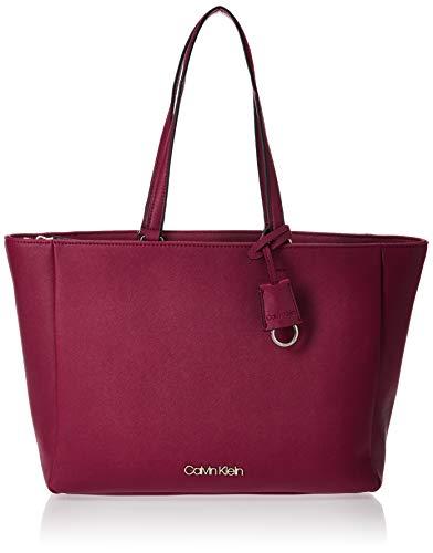 Calvin Klein Damen Worked Shopper Tote, Rot (Tibetan Red), 13x27x47 Centimeters