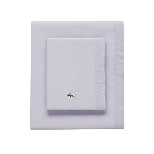 Lacoste 100% Cotton Percale Sheet Set, Solid, Light Grey, Queen