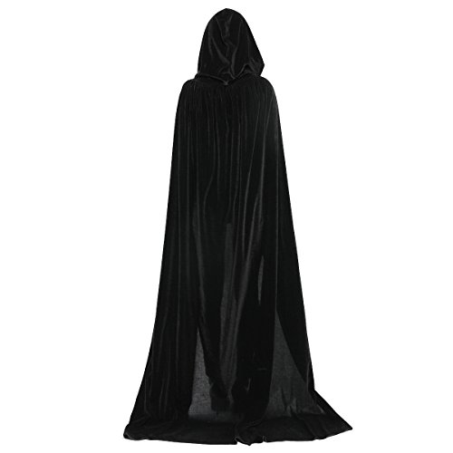 HUNTFORGOOD Largo Capa con Capucha de Terciopelo para Mujeres y Hombres Disfraz de Halloween Carnaval Vampiro Negro