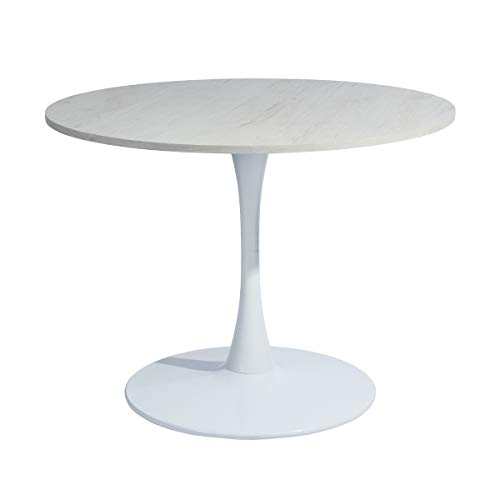 FURNITURE-R France Tavolo da Pranzo Rotondo Tavolo da riunione Bianco Rovere Tavolo da Cucina per Sala da Pranzo Lounge-100cm