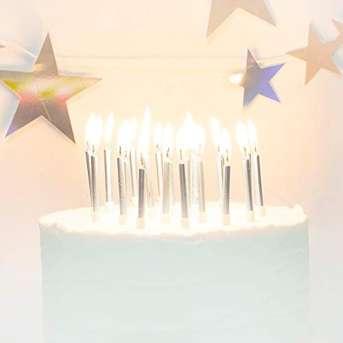 On The Wall Silver Metallic Cake Candles with Holders (24 Pack)