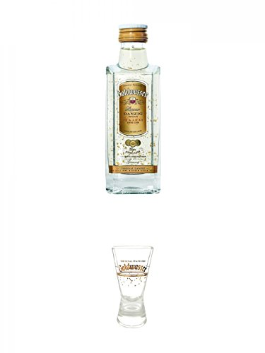 Danziger Goldwasser Likör 5 cl MINIATUR + Der Lachs Danziger Goldwasser Shotglas 2 cl 1 Stück