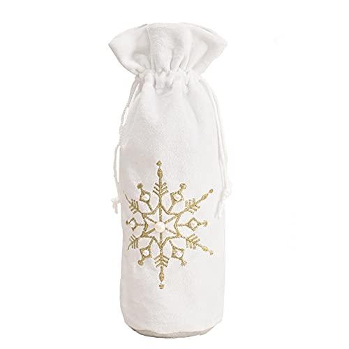 EMFGJ Bolsas para botellas de vino de Navidad, con diseño de copo de nieve, con cordón para envolver botellas de Navidad, para decoración del hogar, cena, fiesta, patrón de copos de nieve dorado