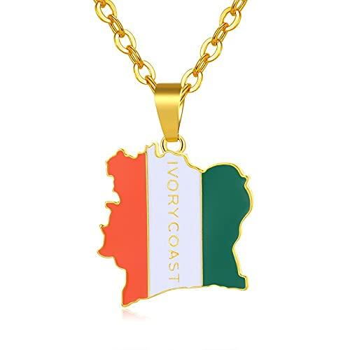 Kkoqmw Bandera Collares con Colgante de Color Dorado para Coate d'Ivoire Map Jewelry Bijoux Femme