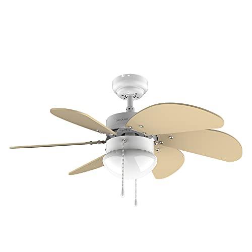 Cecotec Ventilador de techo EnergySilence 3600 Vision SunLight. 50 W, Diámetro 92 cm, Lámpara, 3 Velocidades, 6 Aspas reversibles, Función Verano/Invierno, Interruptor de Cadena, Blanco/Amarillo