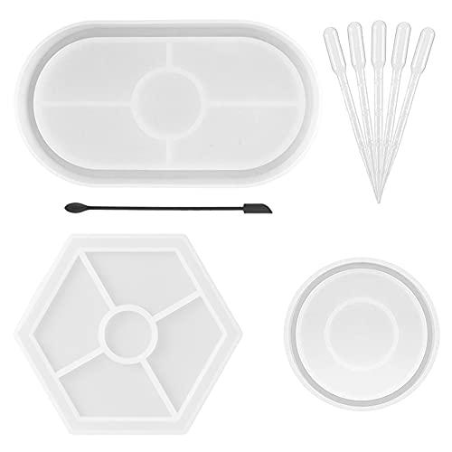 3 kit di stampi in resina per vassoio fai da te, Stampo per piatti posacenere piatto ovale in silicone, Stampo per sottobicchieri in resina epossidica, Creatore di vassoi in Jesmonite in terrazzo