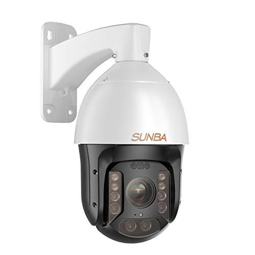 SUNBA Cámara PoE+ PTZ al aire libre, zoom óptico 25X 1080p@60fps cámara de seguridad domo, visión nocturna infrarroja de largo alcance hasta 300 m (P625, serie de rendimiento)
