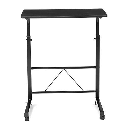 Madeinely Escritorio para ordenador portátil de madera regulable en altura con sistema de frenado para oficina en casa, mesa para ordenador portátil (tamaño: 60 x 40 cm; color: negro)