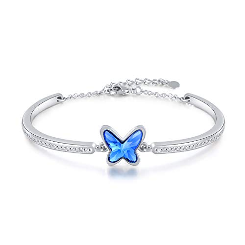Angelady Silver Plated Bangles Bracelets for Women Butterfly Bracelets with Blue Crystal , Ladies Bracelet Ideal Mother's Day Birthday Gifts for Mum Wife Girls