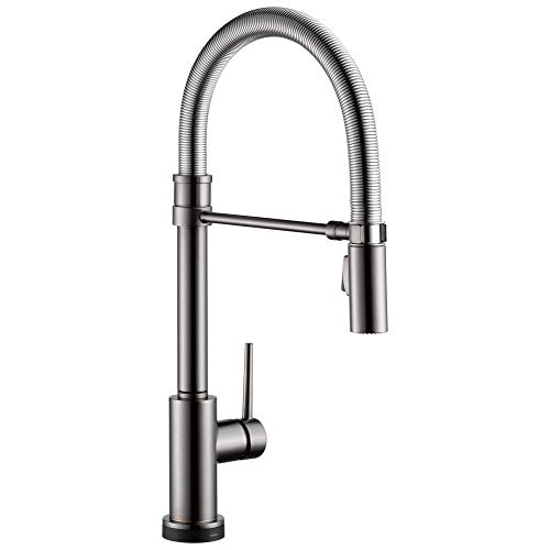 DELTA Trinsic Pro Single-Handle Spring Spout Touch Kitchen Sink Faucet with Pull Down Sprayer, Touch2O Technology and Magnetic Docking Spray Head, Black Stainless 9659T-KS-DST
