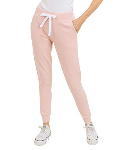 esstive Women's Ultra Soft Fleece Basic Midweight Casual Solid Jogger Pants, Blush Pink, X-Large