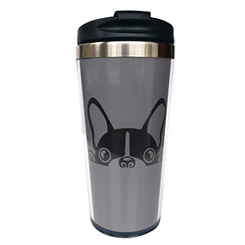 Hasdon-Hill Funny Travel Mugs For Women Men Cartoon Boston Terrier Bulldog Coffee Mug, Stainless Steel Mug For Love Dog Friends Birthday Gifts 12 Oz