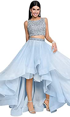 Terani Couture Two-Piece Sleeveless Beaded Top High-Low Dress
