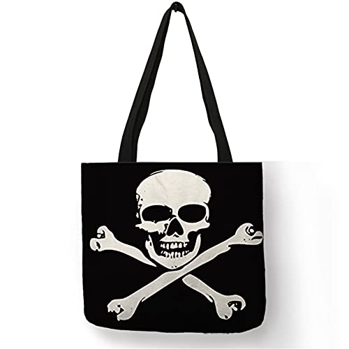 Bolso plegable de las mujeres bolso de hombro negro oscuro fresco cráneo impresión lino bolsas de compras reutilizables para viajes, 005, Large